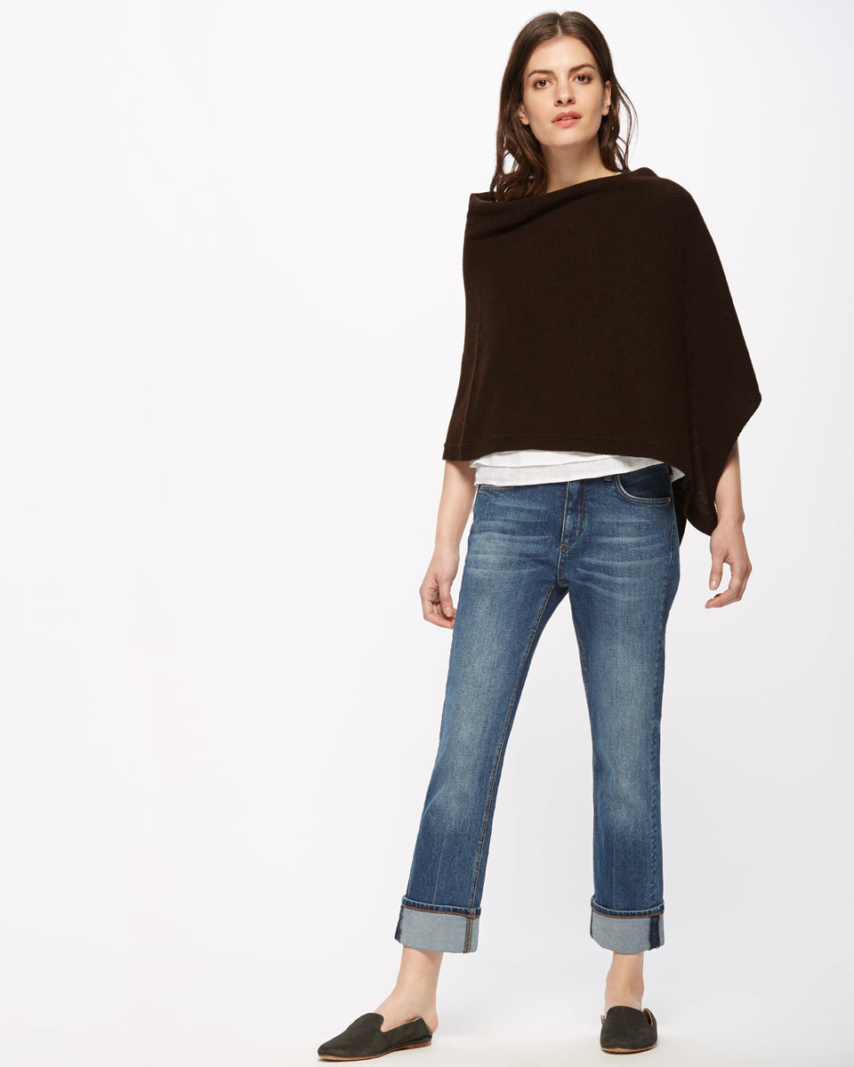 Knitted Ribbed Border Poncho - sleeve style: dolman/batwing; pattern: plain; predominant colour: black; occasions: casual, creative work; length: standard; style: top; fibres: wool - mix; fit: loose; neckline: crew; sleeve length: 3/4 length; pattern type: fabric; texture group: woven light midweight; season: s/s 2016; wardrobe: basic