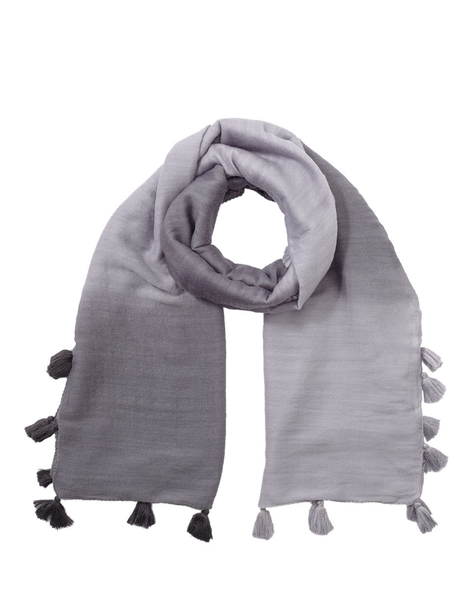 Ombre Pom Pom Scarf - predominant colour: mid grey; secondary colour: light grey; occasions: casual; type of pattern: standard; style: regular; size: standard; material: fabric; embellishment: pompom; pattern: plain; season: s/s 2016; wardrobe: highlight