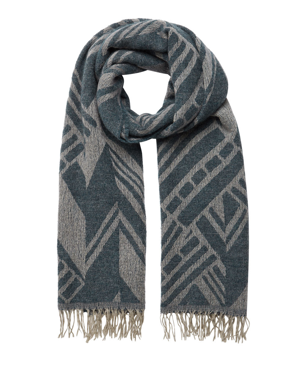 Aztec Oversized Scarf - predominant colour: navy; occasions: casual; type of pattern: heavy; style: regular; size: standard; material: fabric; embellishment: fringing; pattern: striped; season: s/s 2016; wardrobe: highlight