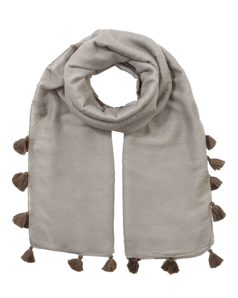 Contrast Pom Edge Scarf - predominant colour: light grey; occasions: casual; type of pattern: standard; style: regular; size: standard; material: fabric; embellishment: pompom; pattern: plain; season: s/s 2016; wardrobe: highlight