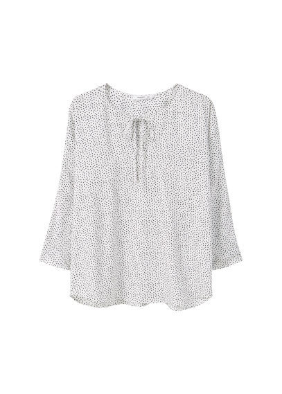 Printed Blouse - neckline: pussy bow; style: blouse; predominant colour: ivory/cream; secondary colour: black; occasions: casual, creative work; length: standard; fibres: polyester/polyamide - 100%; fit: straight cut; sleeve length: 3/4 length; sleeve style: standard; pattern type: fabric; pattern size: standard; pattern: patterned/print; texture group: woven light midweight; season: s/s 2016; wardrobe: highlight