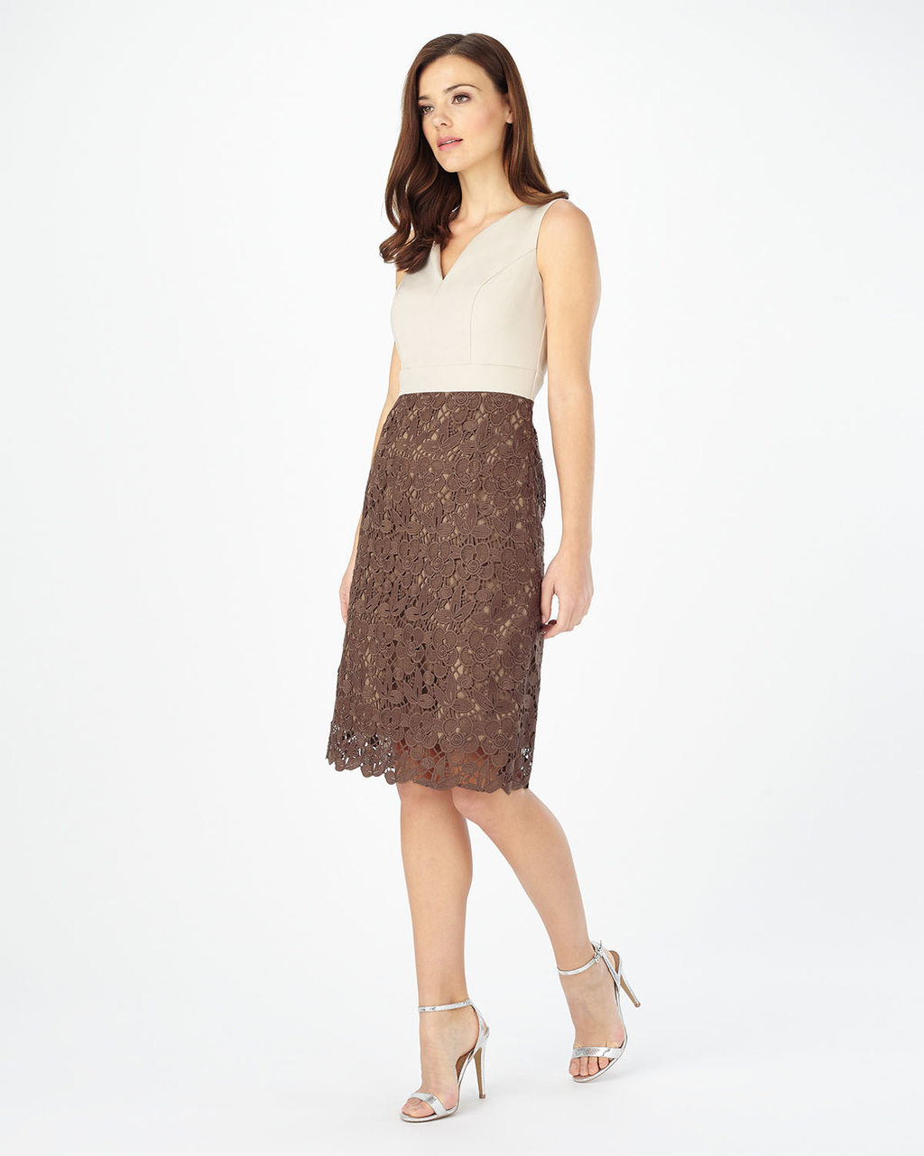 Palmer Dress - style: shift; neckline: v-neck; fit: tailored/fitted; pattern: plain; sleeve style: sleeveless; secondary colour: ivory/cream; predominant colour: chocolate brown; length: on the knee; fibres: polyester/polyamide - 100%; occasions: occasion; sleeve length: sleeveless; pattern type: fabric; texture group: other - light to midweight; embellishment: lace; season: s/s 2016