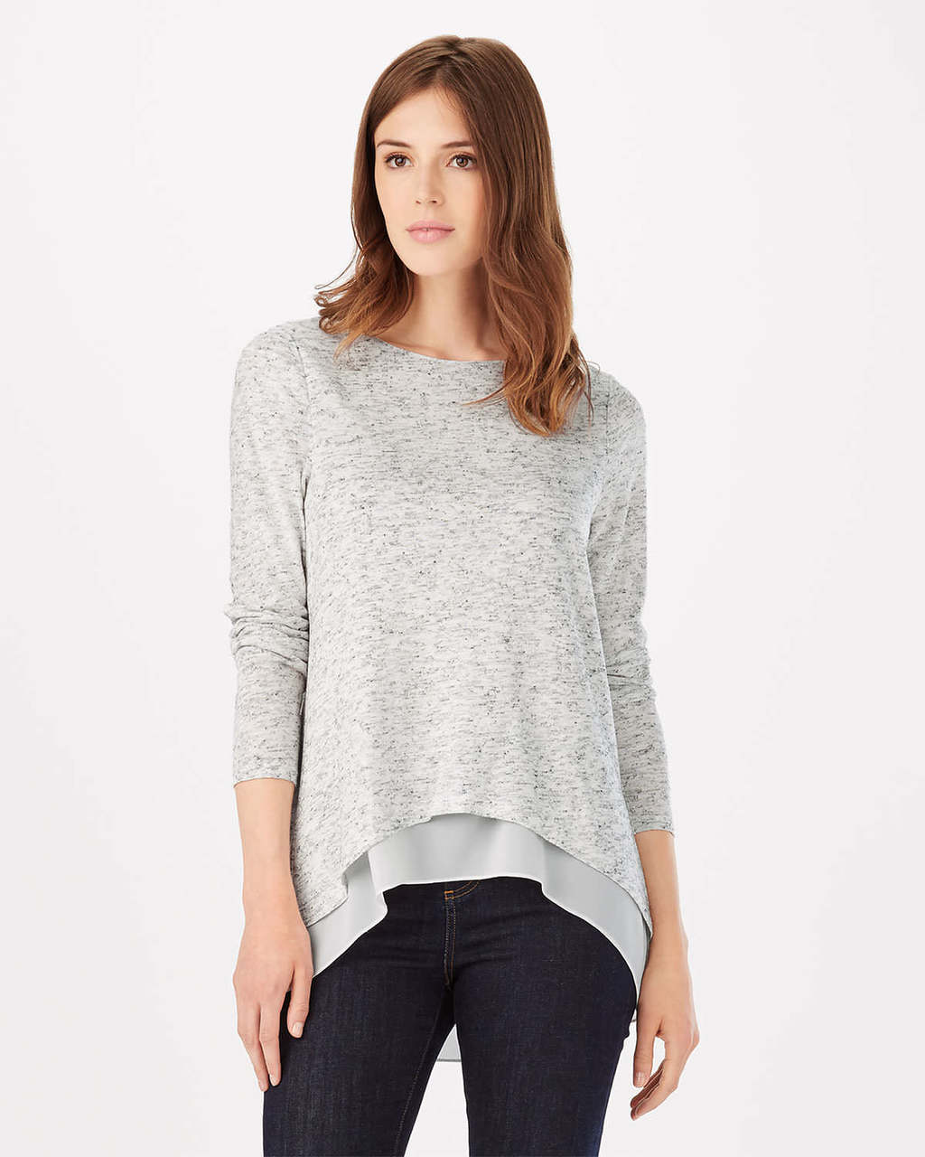Zannie Space Dye Top - neckline: round neck; predominant colour: light grey; occasions: casual, creative work; length: standard; style: top; fibres: silk - mix; fit: loose; back detail: longer hem at back than at front; sleeve length: 3/4 length; sleeve style: standard; texture group: linen; pattern type: fabric; pattern: patterned/print; pattern size: big & busy (top); season: s/s 2016; wardrobe: highlight
