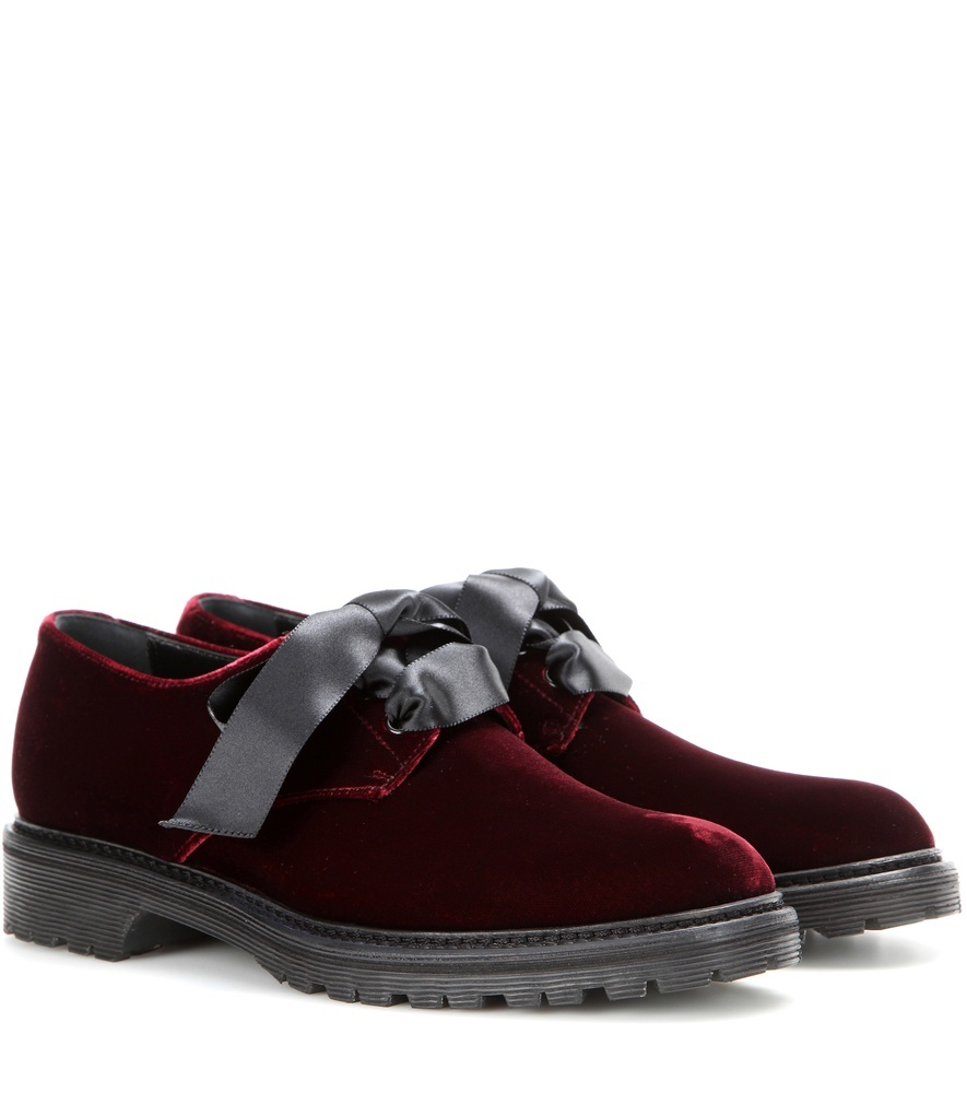 Velvet Derby Shoes - predominant colour: burgundy; occasions: casual, creative work; material: velvet; heel height: flat; toe: round toe; style: loafers; finish: plain; pattern: plain; season: s/s 2016; wardrobe: highlight