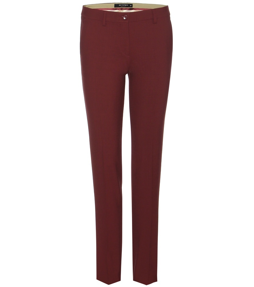 Wool Trousers - length: standard; pattern: plain; pocket detail: pockets at the sides; hip detail: draws attention to hips; waist: mid/regular rise; predominant colour: burgundy; occasions: casual, creative work; fibres: wool - 100%; fit: slim leg; pattern type: fabric; texture group: woven light midweight; style: standard; season: s/s 2016; wardrobe: highlight
