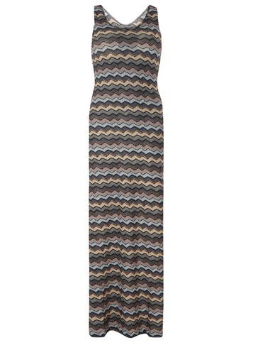 Womens *Mela Grey Zig Zag Maxi Dress Grey - pattern: horizontal stripes; sleeve style: sleeveless; style: maxi dress; length: ankle length; secondary colour: khaki; predominant colour: light grey; occasions: casual; fit: body skimming; fibres: polyester/polyamide - 100%; neckline: crew; sleeve length: sleeveless; pattern type: fabric; texture group: jersey - stretchy/drapey; multicoloured: multicoloured; season: s/s 2016; wardrobe: basic