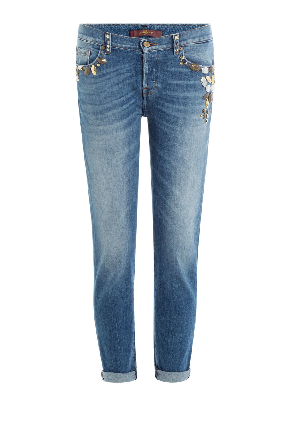 Embellished Cropped Jeans - pattern: plain; pocket detail: traditional 5 pocket; style: slim leg; waist: mid/regular rise; predominant colour: denim; occasions: casual; length: calf length; fibres: cotton - stretch; jeans detail: whiskering, washed/faded; texture group: denim; pattern type: fabric; embellishment: beading; season: s/s 2016; wardrobe: basic; embellishment location: hip