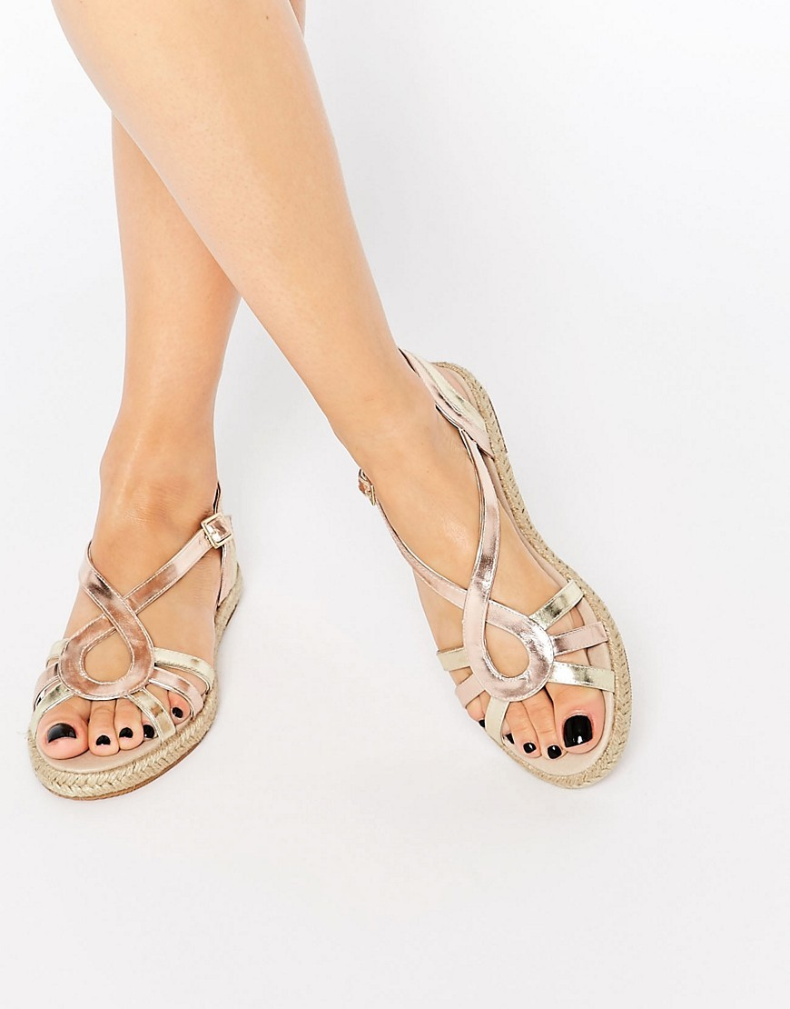 Jada Espadrille Sandals Pearl Glitter/Gold - predominant colour: gold; occasions: casual, holiday; material: faux leather; heel height: flat; heel: standard; toe: open toe/peeptoe; style: gladiators; finish: metallic; pattern: plain; season: s/s 2016; wardrobe: basic