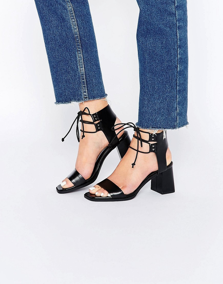 Totally Lace Up Heeled Sandals Black - predominant colour: black; occasions: casual, holiday; material: faux leather; heel height: mid; ankle detail: ankle tie; heel: block; toe: open toe/peeptoe; style: strappy; finish: plain; pattern: plain; season: s/s 2016; wardrobe: investment