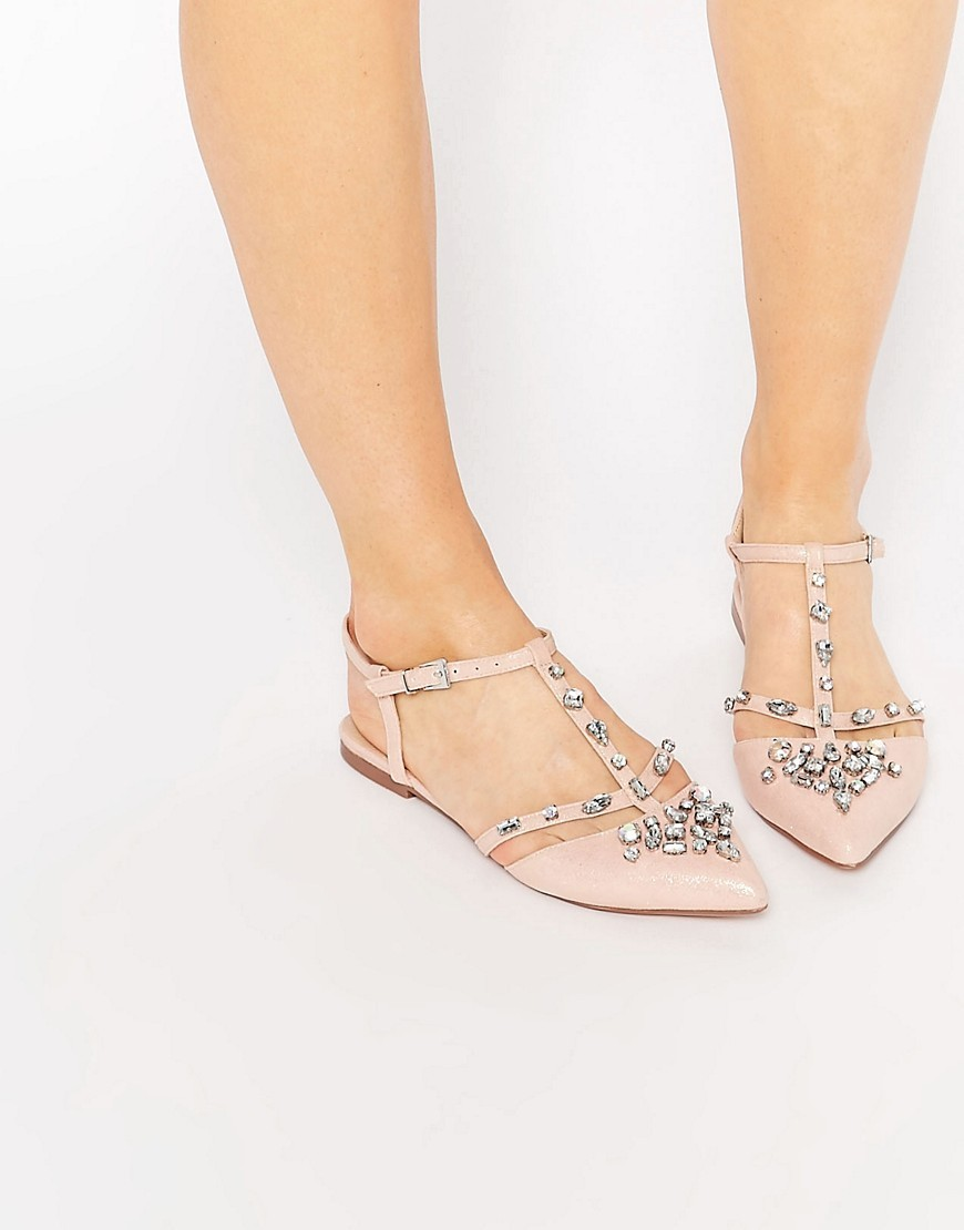 Lotus Embellished Pointed Ballet Flats Nude Metallic - predominant colour: blush; occasions: casual, evening, creative work; material: faux leather; heel height: flat; embellishment: crystals/glass; ankle detail: ankle strap; toe: pointed toe; style: ballerinas / pumps; finish: plain; pattern: plain; season: s/s 2016; wardrobe: basic