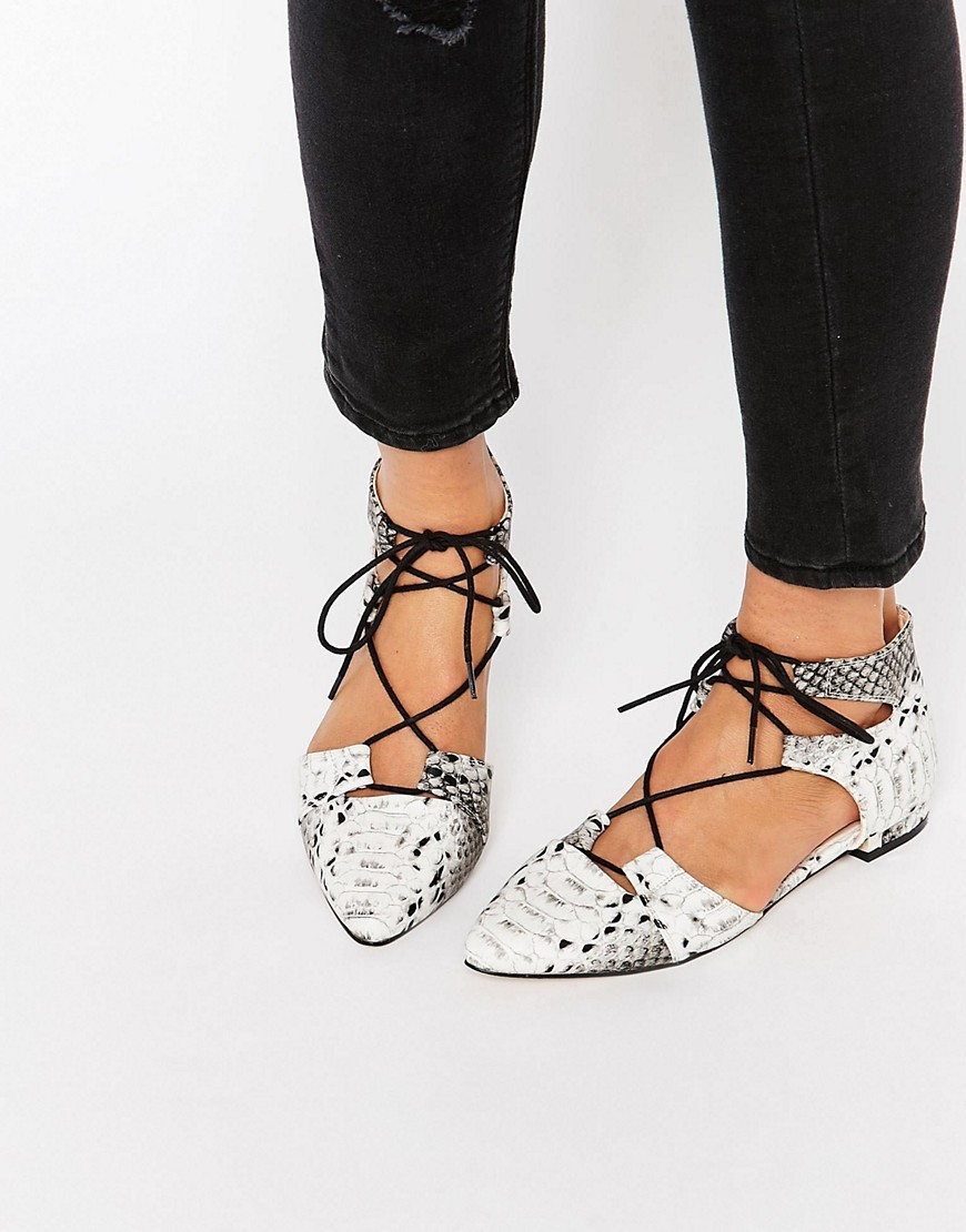 Let's Play Pointed Lace Up Ballet Flats Snake - secondary colour: ivory/cream; predominant colour: mid grey; occasions: casual, creative work; material: faux leather; heel height: flat; ankle detail: ankle tie; toe: pointed toe; style: ballerinas / pumps; finish: plain; pattern: animal print; season: s/s 2016; wardrobe: highlight