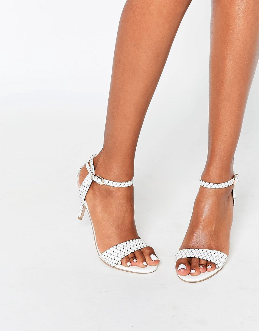 Kollude White Kitten Heeled Sandals White - predominant colour: white; occasions: evening, occasion; material: faux leather; heel height: mid; ankle detail: ankle strap; heel: kitten; toe: open toe/peeptoe; style: strappy; finish: plain; pattern: plain; season: s/s 2016; wardrobe: event