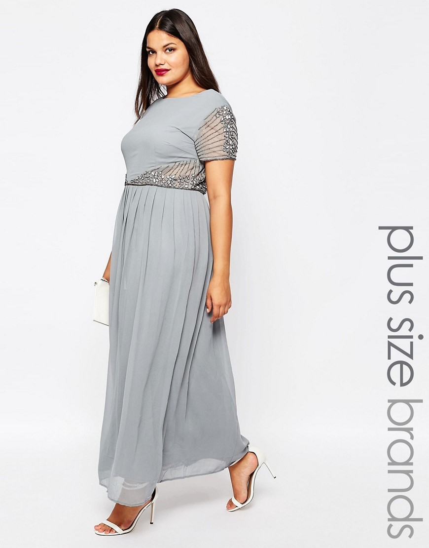 Plus Maxi Dress With Embellished Detail Grey - pattern: plain; style: maxi dress; length: ankle length; predominant colour: light grey; occasions: evening; fit: body skimming; fibres: polyester/polyamide - 100%; neckline: crew; waist detail: cut out detail; sleeve length: short sleeve; sleeve style: standard; texture group: crepes; pattern type: fabric; embellishment: beading; season: s/s 2016; wardrobe: event; embellishment location: shoulder, waist