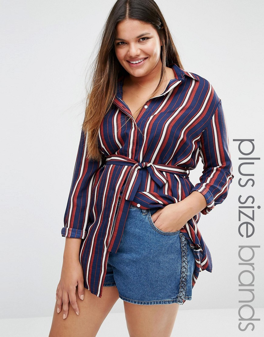 Longline Stripe Shirt Multi - neckline: shirt collar/peter pan/zip with opening; pattern: vertical stripes; length: below the bottom; style: shirt; waist detail: belted waist/tie at waist/drawstring; predominant colour: navy; occasions: casual, creative work; fibres: polyester/polyamide - 100%; fit: body skimming; sleeve length: 3/4 length; sleeve style: standard; texture group: crepes; pattern type: fabric; pattern size: big & busy (top); multicoloured: multicoloured; season: s/s 2016; wardrobe: highlight