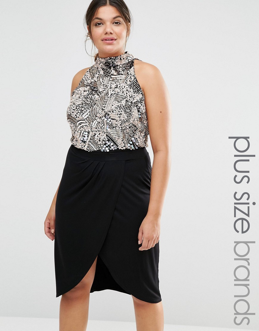 Sleeveless Body With Heavy Embellishment And High Neck Silver - sleeve style: sleeveless; neckline: high neck; predominant colour: black; occasions: evening; length: standard; fibres: polyester/polyamide - 100%; fit: body skimming; sleeve length: sleeveless; pattern type: fabric; pattern size: standard; pattern: patterned/print; texture group: other - light to midweight; style: bodysuit; multicoloured: multicoloured; season: s/s 2016; wardrobe: event