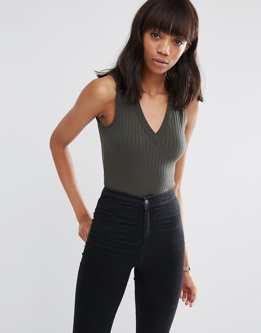 Sleeveless Top With V Neck In Clean Rib Khaki - neckline: v-neck; pattern: plain; sleeve style: sleeveless; predominant colour: charcoal; occasions: casual; length: standard; fibres: polyester/polyamide - stretch; fit: tight; sleeve length: sleeveless; texture group: jersey - clingy; pattern type: fabric; style: bodysuit; season: s/s 2016; wardrobe: basic