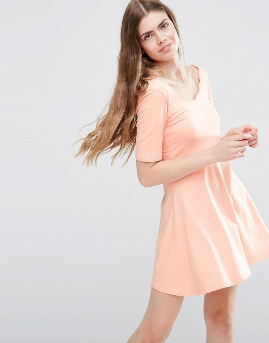 Mini Skater Dress With Scallop Neckline Blush - length: mid thigh; neckline: v-neck; pattern: plain; style: prom dress; predominant colour: blush; occasions: casual; fit: fitted at waist & bust; fibres: cotton - stretch; sleeve length: short sleeve; sleeve style: standard; pattern type: fabric; texture group: jersey - stretchy/drapey; season: s/s 2016; wardrobe: basic