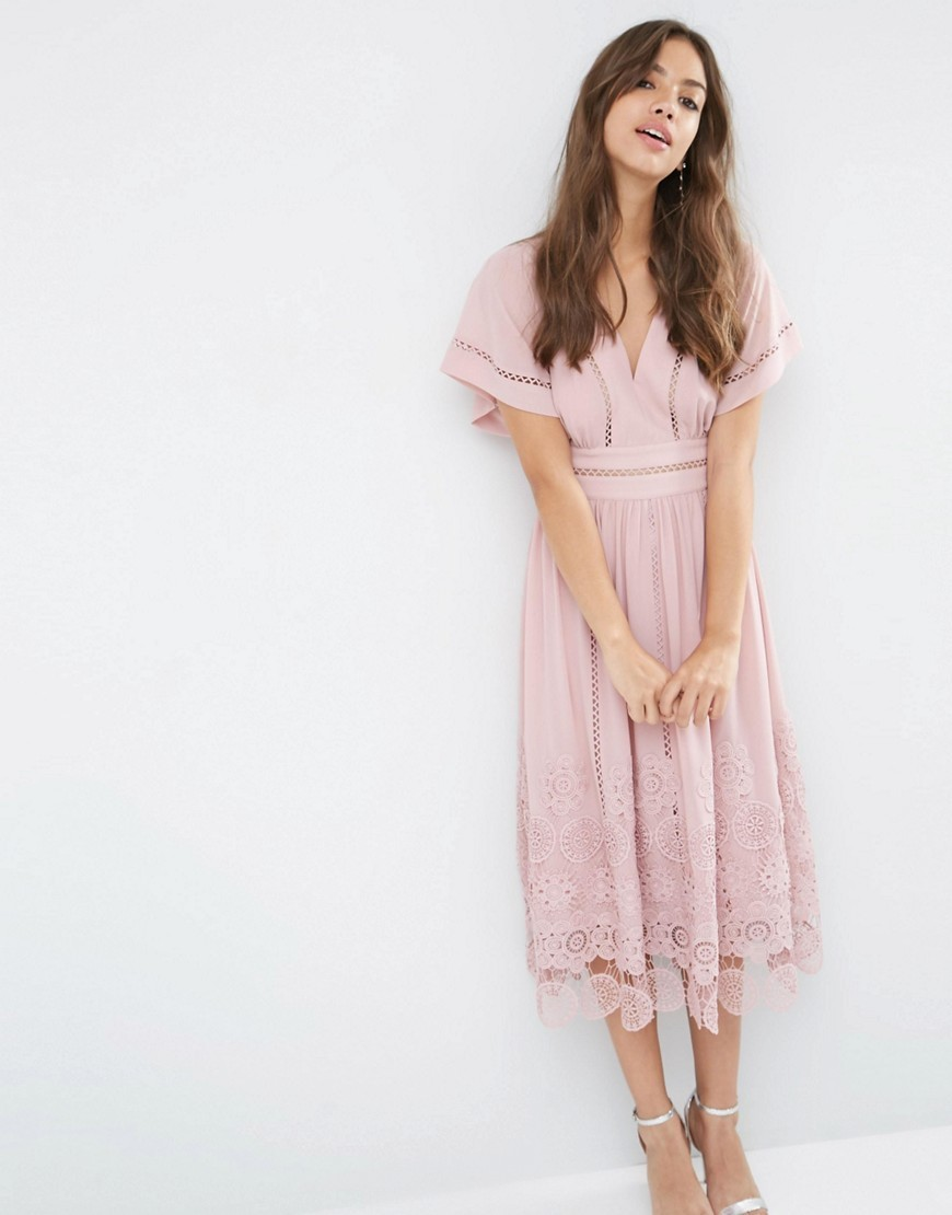 Premium Ladder And Guipre Lace Hem Midi Dress Pink - style: tea dress; length: calf length; neckline: low v-neck; pattern: plain; predominant colour: hot pink; occasions: evening; fit: soft a-line; fibres: polyester/polyamide - 100%; hip detail: soft pleats at hip/draping at hip/flared at hip; sleeve length: short sleeve; sleeve style: standard; texture group: cotton feel fabrics; pattern type: fabric; season: s/s 2016; wardrobe: event