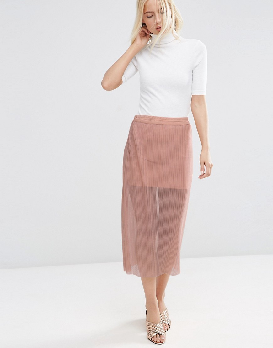 Pleated Skirt In Sheer Mesh Nude - length: calf length; pattern: plain; style: pencil; fit: body skimming; waist: mid/regular rise; predominant colour: blush; occasions: evening; fibres: viscose/rayon - stretch; texture group: sheer fabrics/chiffon/organza etc.; pattern type: fabric; season: s/s 2016; wardrobe: event
