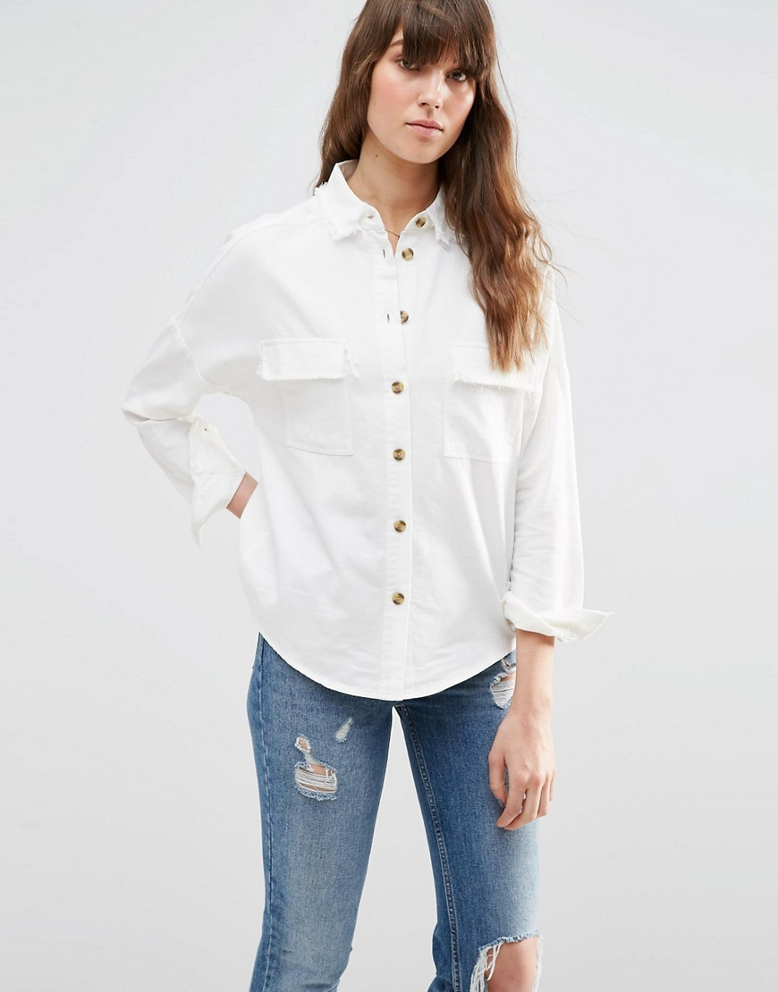 Casual Shirt With Raw Edge White - neckline: shirt collar/peter pan/zip with opening; pattern: plain; style: shirt; predominant colour: white; occasions: casual; length: standard; fibres: cotton - mix; fit: loose; sleeve length: long sleeve; sleeve style: standard; pattern type: fabric; texture group: woven light midweight; season: s/s 2016; wardrobe: basic