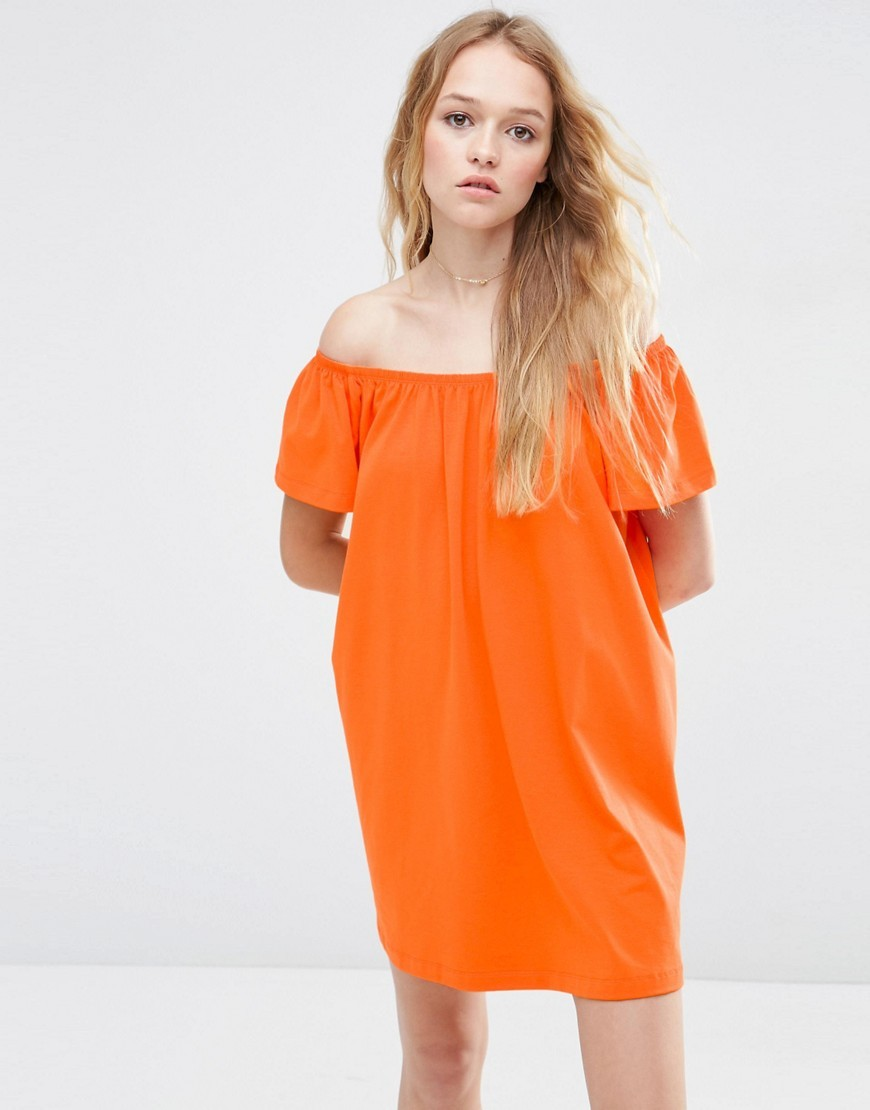 Off Shoulder Mini Dress Tangerine - length: mid thigh; neckline: off the shoulder; fit: loose; pattern: plain; style: sundress; predominant colour: bright orange; occasions: casual, holiday; fibres: cotton - stretch; sleeve length: short sleeve; sleeve style: standard; pattern type: fabric; texture group: jersey - stretchy/drapey; season: s/s 2016; wardrobe: highlight