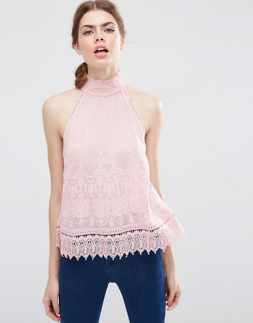 Sleeveless High Neck Top With Embroidery Pink - pattern: plain; sleeve style: sleeveless; neckline: high neck; predominant colour: pink; occasions: evening; length: standard; style: top; fibres: viscose/rayon - 100%; fit: body skimming; sleeve length: sleeveless; pattern type: fabric; texture group: other - light to midweight; embellishment: lace; season: s/s 2016; wardrobe: event