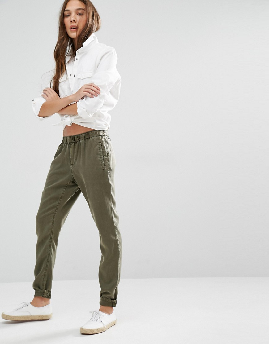 Tapered Utility Trousers Grape Leaf - length: standard; pattern: plain; style: harem/slouch; waist: low rise; predominant colour: khaki; occasions: casual, creative work; fibres: polyester/polyamide - 100%; texture group: cotton feel fabrics; fit: baggy; pattern type: fabric; season: s/s 2016; wardrobe: highlight