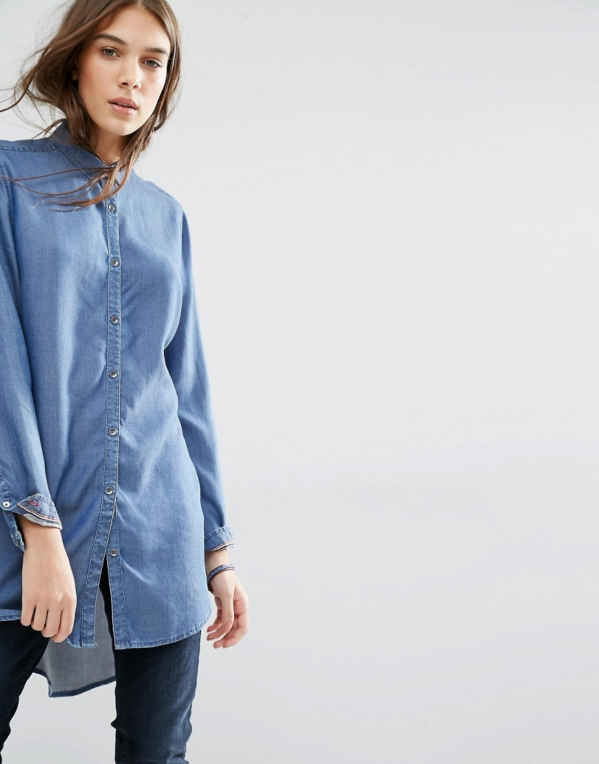 Lightweight Denim Shirt With Drop Hem Mid Indigo - neckline: shirt collar/peter pan/zip with opening; pattern: plain; length: below the bottom; style: shirt; predominant colour: denim; occasions: casual, creative work; fibres: polyester/polyamide - 100%; fit: body skimming; sleeve length: long sleeve; sleeve style: standard; texture group: crepes; pattern type: fabric; season: s/s 2016