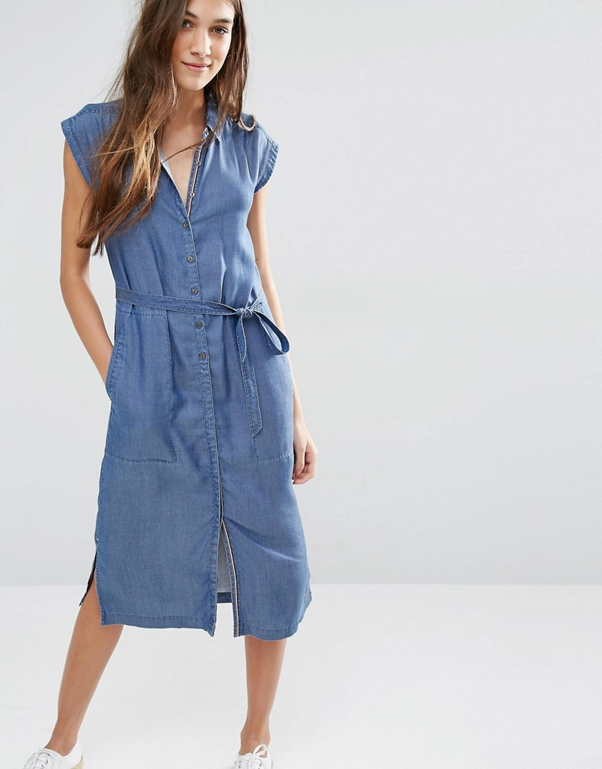 Belted Chambray Midi Dress Mid Indigo - style: shirt; length: below the knee; neckline: shirt collar/peter pan/zip with opening; sleeve style: capped; pattern: plain; waist detail: belted waist/tie at waist/drawstring; predominant colour: denim; occasions: casual; fit: body skimming; fibres: viscose/rayon - 100%; sleeve length: short sleeve; texture group: cotton feel fabrics; pattern type: fabric; season: s/s 2016; wardrobe: highlight