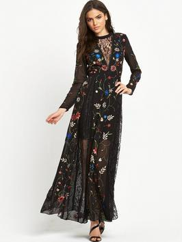 Embroidered And Lace Maxi Dress - style: maxi dress; length: ankle length; predominant colour: black; occasions: evening, occasion; fit: soft a-line; fibres: viscose/rayon - 100%; neckline: crew; sleeve length: long sleeve; sleeve style: standard; texture group: sheer fabrics/chiffon/organza etc.; pattern type: fabric; pattern: patterned/print; season: s/s 2016; wardrobe: event