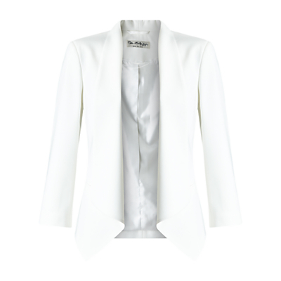 Waterfall Jacket, Ivory - pattern: plain; style: single breasted blazer; collar: shawl/waterfall; predominant colour: ivory/cream; length: standard; fit: tailored/fitted; fibres: polyester/polyamide - stretch; sleeve length: 3/4 length; sleeve style: standard; collar break: low/open; pattern type: fabric; texture group: woven light midweight; occasions: creative work; season: s/s 2016; wardrobe: investment