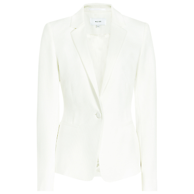 Hanneli Ruffle Back Jacket, Off White - pattern: plain; style: single breasted blazer; collar: standard lapel/rever collar; predominant colour: ivory/cream; length: standard; fit: tailored/fitted; fibres: polyester/polyamide - stretch; occasions: occasion; sleeve length: long sleeve; sleeve style: standard; collar break: medium; pattern type: fabric; texture group: woven light midweight; season: s/s 2016; wardrobe: event