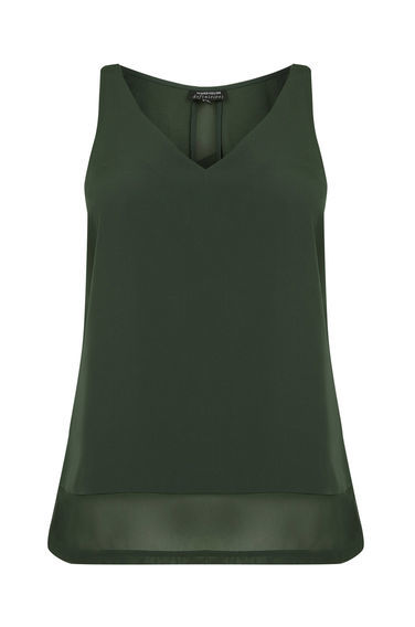 Chiffon Detail Vest - neckline: v-neck; pattern: plain; sleeve style: sleeveless; style: vest top; predominant colour: dark green; occasions: casual; length: standard; fibres: viscose/rayon - 100%; fit: body skimming; sleeve length: sleeveless; texture group: sheer fabrics/chiffon/organza etc.; pattern type: fabric; season: s/s 2016; wardrobe: highlight