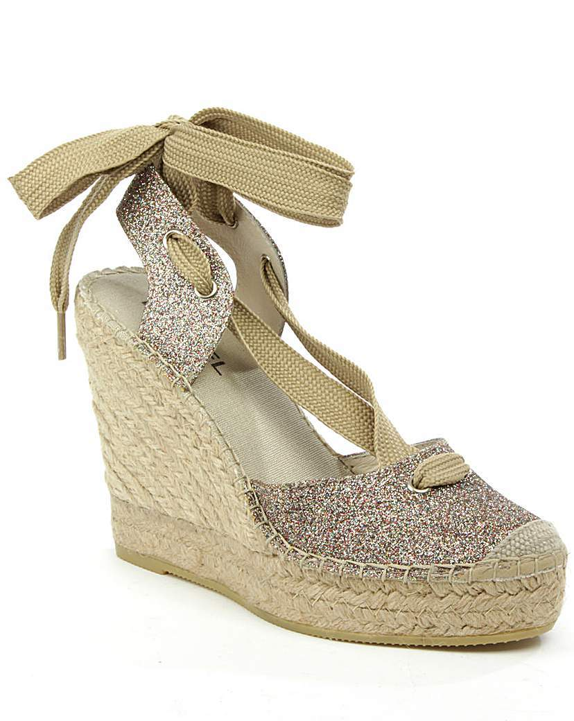 Daniel San Marcos Tie Wedge Espadrille - predominant colour: stone; occasions: casual, holiday; material: fabric; ankle detail: ankle tie; heel: wedge; toe: round toe; finish: plain; pattern: plain; heel height: very high; shoe detail: platform; style: espadrilles; season: s/s 2016; wardrobe: highlight