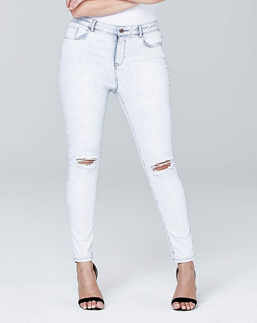 Chloe Ripped Knee Skinny Jeans Reg - style: skinny leg; length: standard; pattern: plain; pocket detail: traditional 5 pocket; waist: mid/regular rise; predominant colour: white; occasions: casual; fibres: cotton - stretch; texture group: denim; pattern type: fabric; jeans detail: rips; season: s/s 2016; wardrobe: highlight