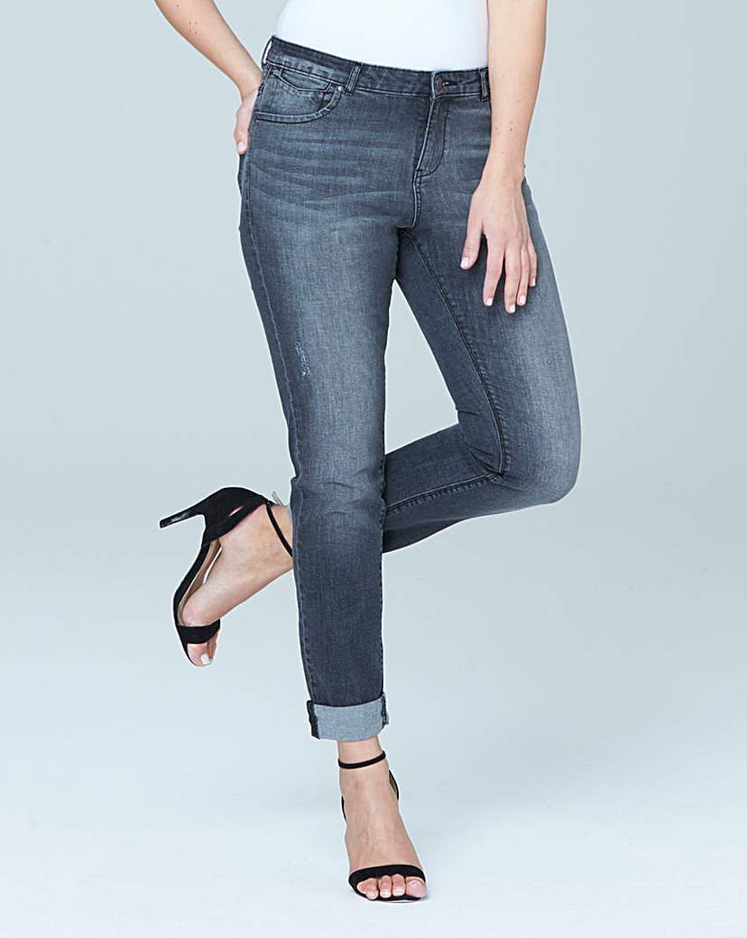 New Sadie Relaxed Jeans Reg - style: skinny leg; pattern: plain; pocket detail: traditional 5 pocket; waist: mid/regular rise; predominant colour: denim; occasions: casual, creative work; length: ankle length; fibres: cotton - stretch; jeans detail: whiskering, shading down centre of thigh; jeans & bottoms detail: turn ups; texture group: denim; pattern type: fabric; season: s/s 2016; wardrobe: basic