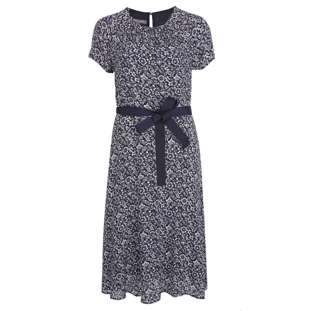 Pleat Neck Floral Tea Dress - style: tea dress; waist detail: belted waist/tie at waist/drawstring; secondary colour: white; predominant colour: navy; occasions: casual, creative work; length: on the knee; fit: fitted at waist & bust; fibres: polyester/polyamide - 100%; neckline: crew; hip detail: subtle/flattering hip detail; back detail: keyhole/peephole detail at back; sleeve length: short sleeve; sleeve style: standard; texture group: sheer fabrics/chiffon/organza etc.; pattern type: fabric; pattern size: standard; pattern: florals; season: s/s 2016; wardrobe: highlight