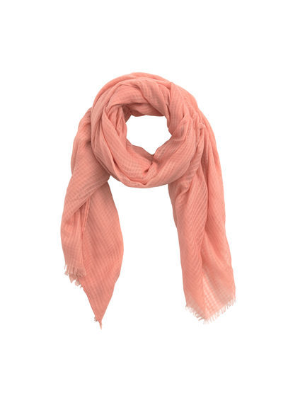 Openwork Scarf - predominant colour: coral; occasions: casual, creative work; type of pattern: standard; style: regular; size: standard; material: fabric; pattern: plain; season: s/s 2016; wardrobe: highlight