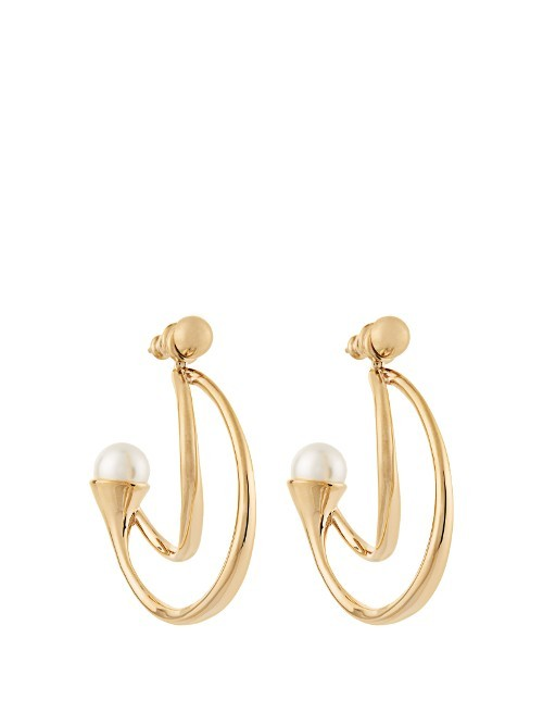Darcey Earrings - predominant colour: gold; occasions: evening, occasion; style: hoop; length: mid; size: large/oversized; material: chain/metal; fastening: pierced; finish: metallic; embellishment: pearls; season: s/s 2016
