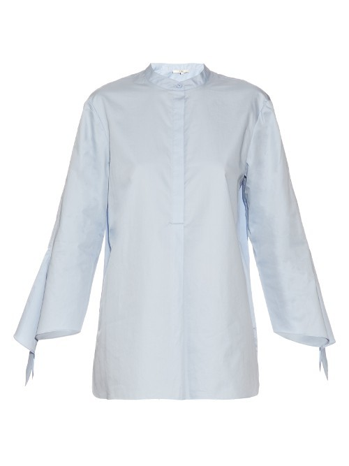 Long Sleeved Cotton Shirt - pattern: plain; style: shirt; predominant colour: pale blue; occasions: casual, creative work; length: standard; neckline: collarstand; fibres: cotton - 100%; fit: body skimming; sleeve length: long sleeve; sleeve style: standard; texture group: cotton feel fabrics; pattern type: fabric; season: s/s 2016; wardrobe: highlight