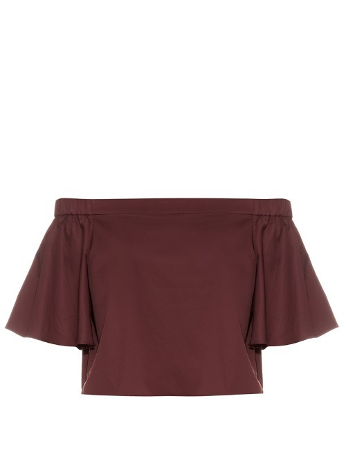 Off The Shoulder Cotton Top - neckline: off the shoulder; pattern: plain; length: cropped; predominant colour: burgundy; occasions: casual; style: top; fibres: cotton - 100%; fit: body skimming; sleeve length: short sleeve; sleeve style: standard; pattern type: fabric; texture group: other - light to midweight; season: s/s 2016; wardrobe: highlight