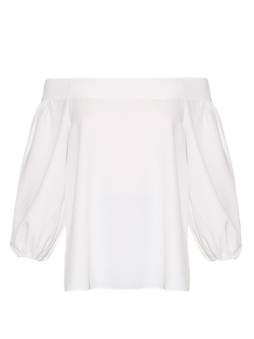 Off The Shoulder Long Sleeved Top - neckline: off the shoulder; pattern: plain; predominant colour: white; occasions: casual; length: standard; style: top; fibres: polyester/polyamide - 100%; fit: body skimming; sleeve length: 3/4 length; sleeve style: standard; texture group: cotton feel fabrics; pattern type: fabric; season: s/s 2016; wardrobe: highlight