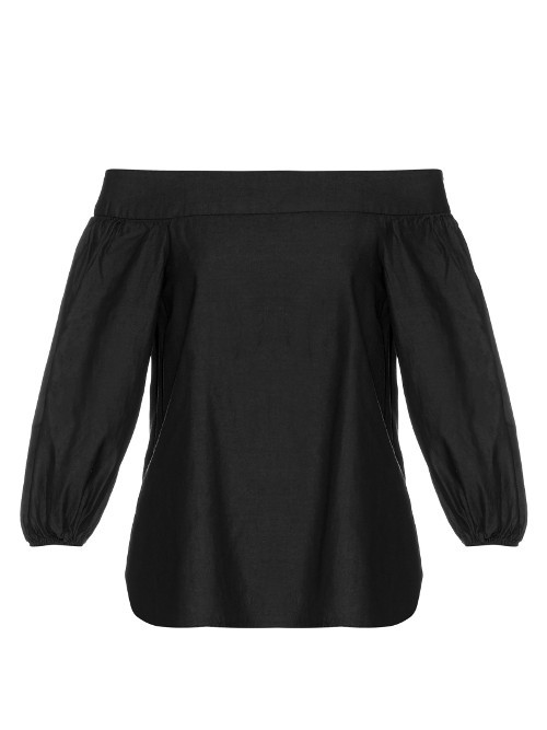 Off The Shoulder Long Sleeved Top - neckline: off the shoulder; pattern: plain; predominant colour: black; occasions: casual; length: standard; style: top; fibres: polyester/polyamide - 100%; fit: body skimming; sleeve length: 3/4 length; sleeve style: standard; texture group: cotton feel fabrics; pattern type: fabric; season: s/s 2016; wardrobe: highlight