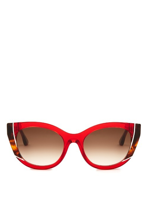 Nevermindy Cat Eye Sunglasses - predominant colour: true red; secondary colour: chocolate brown; occasions: casual, holiday; style: cateye; size: large; material: plastic/rubber; finish: plain; pattern: patterned/print; season: s/s 2016; wardrobe: highlight