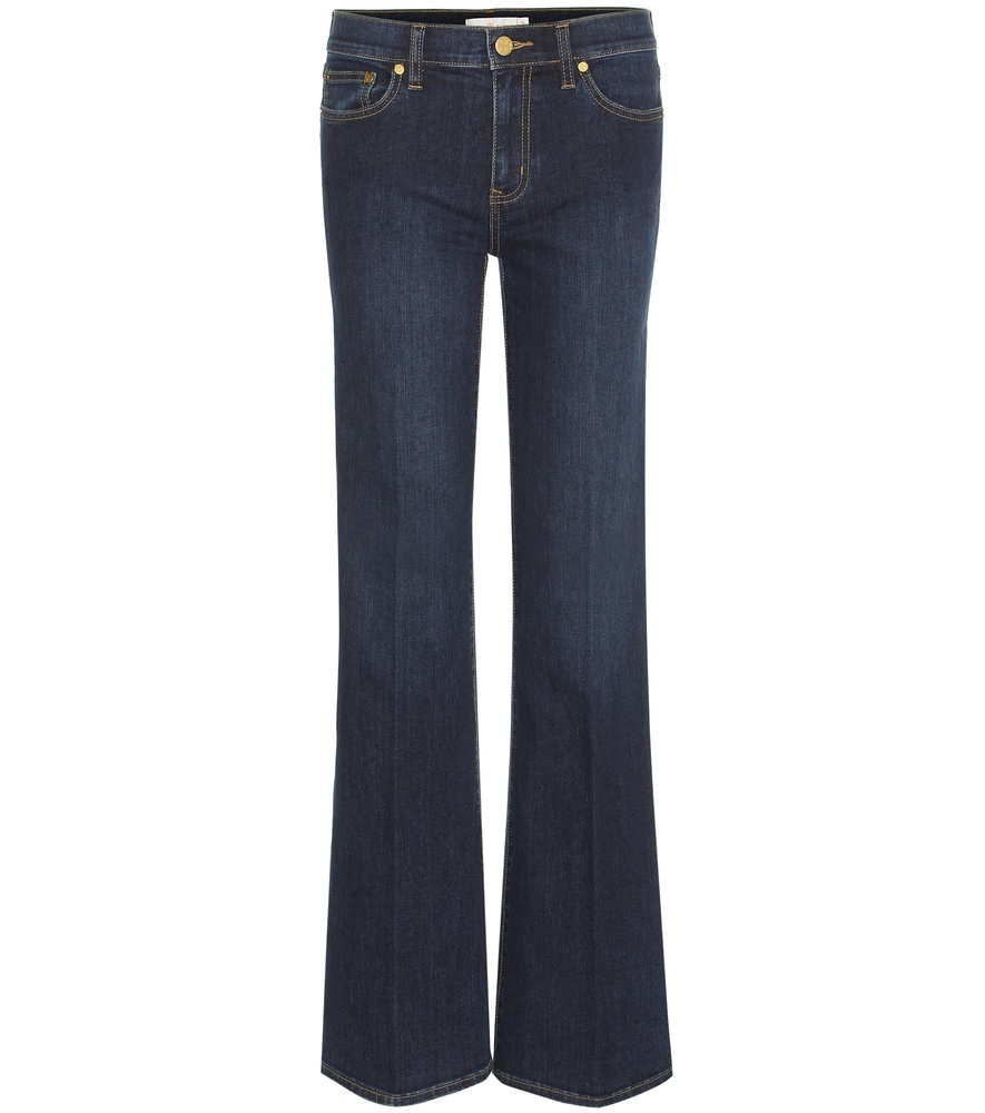 Skinny Flare Jeans - style: flares; length: standard; pattern: plain; pocket detail: traditional 5 pocket; waist: mid/regular rise; predominant colour: navy; occasions: casual, evening, creative work; fibres: cotton - stretch; jeans detail: dark wash; texture group: denim; pattern type: fabric; season: s/s 2016; wardrobe: basic