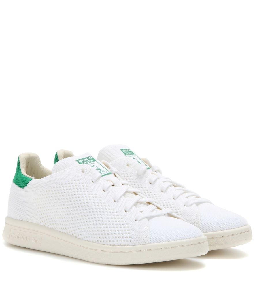 Stan Smith Originals Primeknit Sneakers - predominant colour: white; secondary colour: emerald green; occasions: casual; material: leather; heel height: flat; toe: round toe; style: trainers; finish: plain; pattern: plain; season: s/s 2016; wardrobe: basic