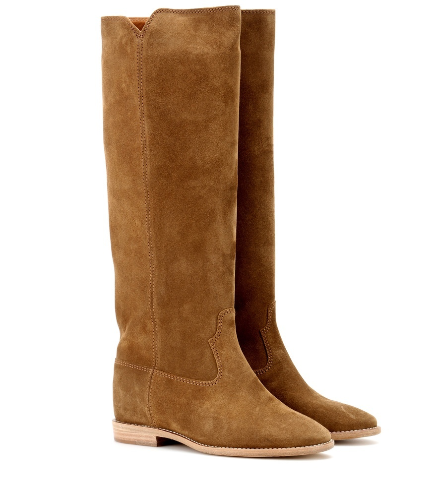 étoile Cleave Concealed Wedge Suede Boots - predominant colour: tan; occasions: casual, creative work; material: suede; heel height: flat; heel: block; toe: round toe; boot length: knee; style: standard; finish: plain; pattern: plain; season: s/s 2016