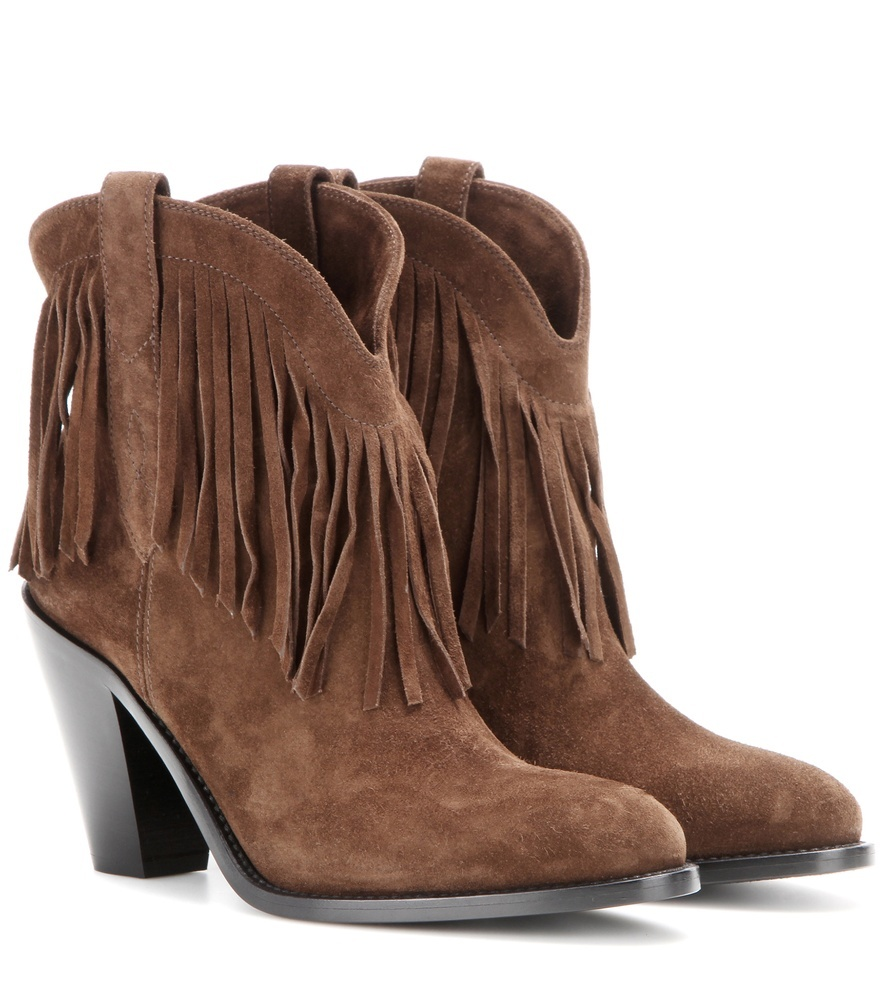 Curtis 80 Fringed Suede Cowboy Boots - predominant colour: chocolate brown; occasions: casual, creative work; material: suede; heel height: high; heel: cone; toe: round toe; boot length: ankle boot; style: standard; finish: plain; pattern: plain; embellishment: fringing; season: s/s 2016