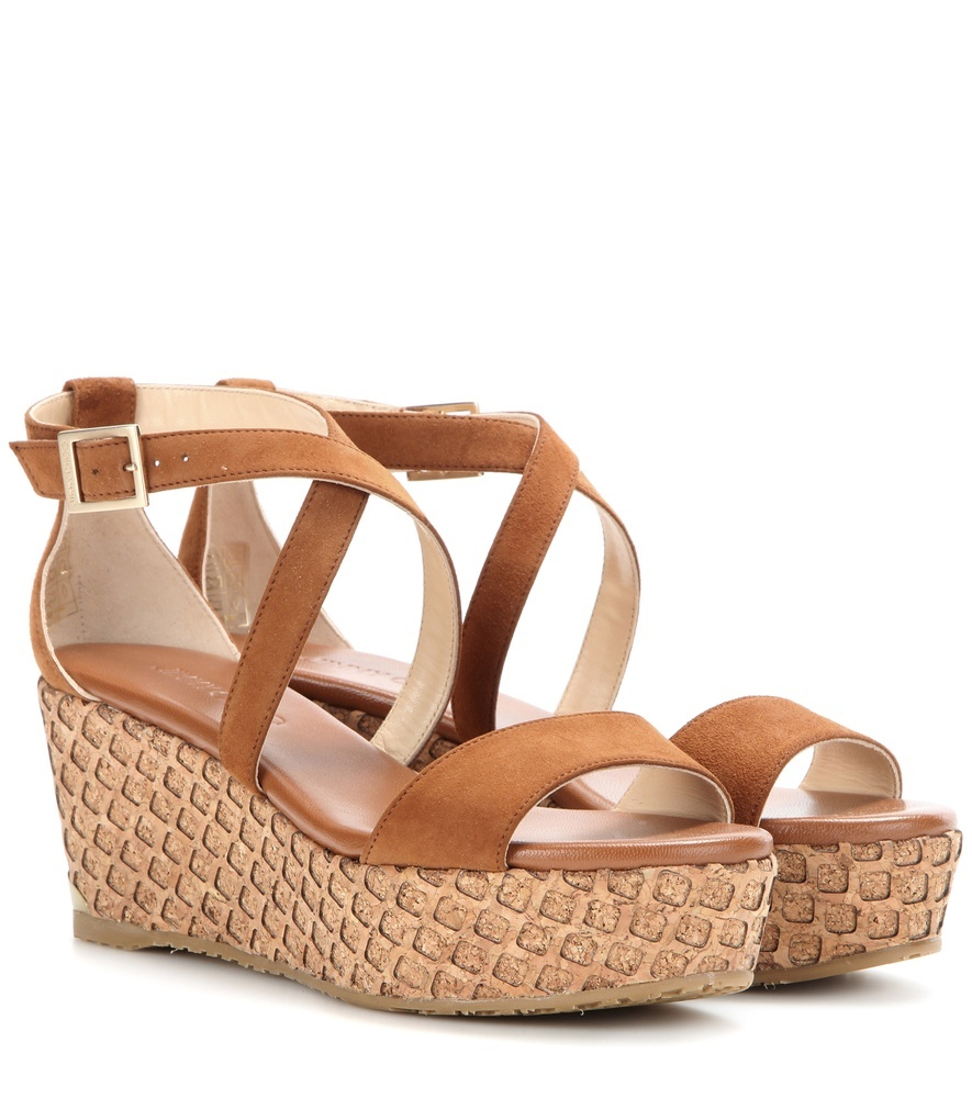 Portia 70 Suede Wedge Sandals - predominant colour: chocolate brown; occasions: casual, holiday; material: leather; heel height: mid; ankle detail: ankle strap; heel: wedge; toe: open toe/peeptoe; style: strappy; finish: plain; pattern: animal print; shoe detail: platform; season: s/s 2016; wardrobe: highlight