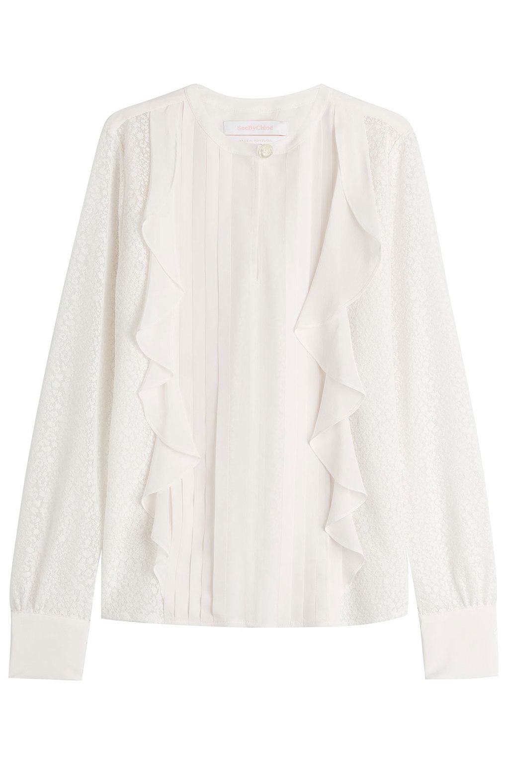 Ruffled Blouse With S Ilk White - neckline: round neck; pattern: plain; style: blouse; predominant colour: white; occasions: work, occasion; length: standard; fibres: silk - mix; fit: body skimming; sleeve length: long sleeve; sleeve style: standard; texture group: silky - light; bust detail: tiers/frills/bulky drapes/pleats; pattern type: fabric; season: s/s 2016; wardrobe: highlight